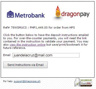 Email Input - DragonPay